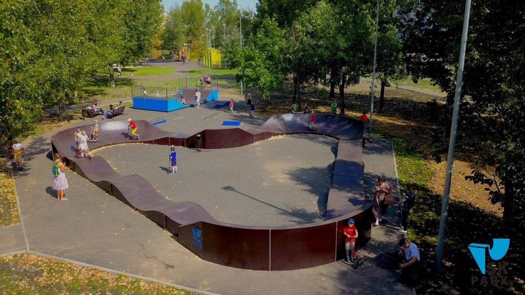 Памп трек с мини рампой, Москва, парк «Отрадное» / Pump track & mini halfpipe in Moscow publiс garden by SK PARK