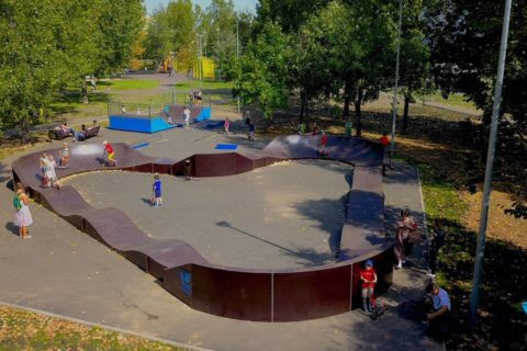 Фото Памп трек с мини рампой, Москва, парк «Отрадное» / Pump track & mini halfpipe in Moscow publiс garden by SK PARK